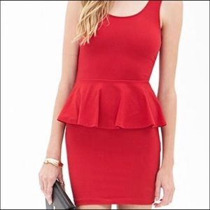 Sexy Fitted Red Tank Peplum Dress